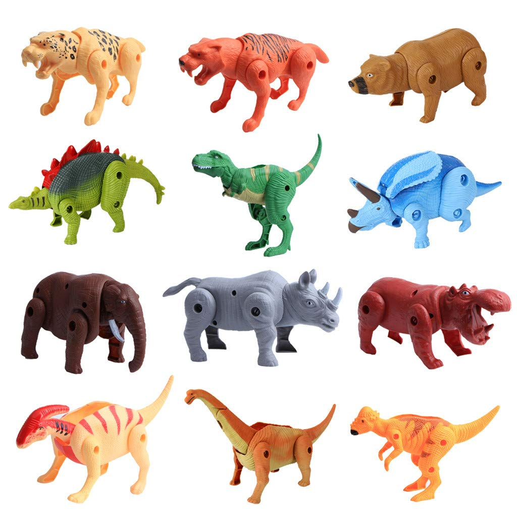 Amaping 12pcs Realistic Animal Active Toy Dinosaur Figures for Cool Kids and Toddler Intelligence Education (Multicolor)