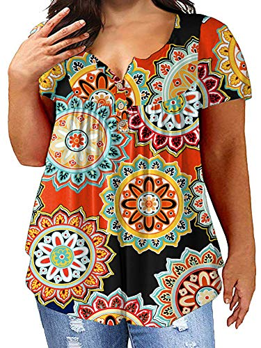 4XL Maternity Tops for Laides Orange U-Neck Buttons Daily Loose Shirts Floral Print