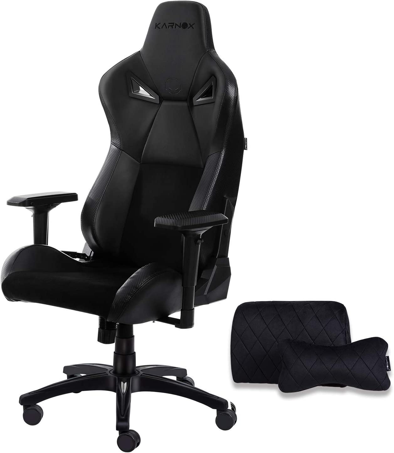 KARNOX BK Gaming/Office Chair with 155º Recline PU&Suede Leather Racing Chair High Back Chair Executive and Ergonomic Style Swivel Chair with Headrest and Lumbar Support(LegendBK-Black)…