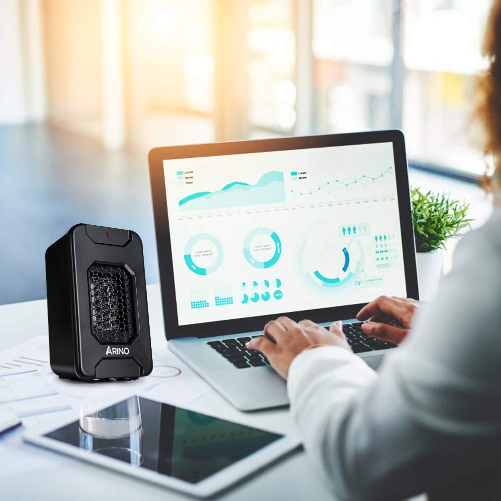 Calefactor Portátil Eléctrico, ARINO Mini Ventilador Calefactor, Calentador de Ventilador Portátil 500 W,Protección contra Sobrecalentamiento Conveniente ...