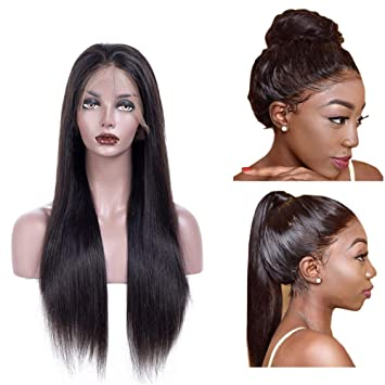 Amazon Com Glueless 360 Lace Frontal Wig Brazilian Human Hair Wig 16 Inch Pre Plucked With Baby Hair For Black Women 360 Wigs Lace Front Straight 1b Natural Black 150 Density Beauty