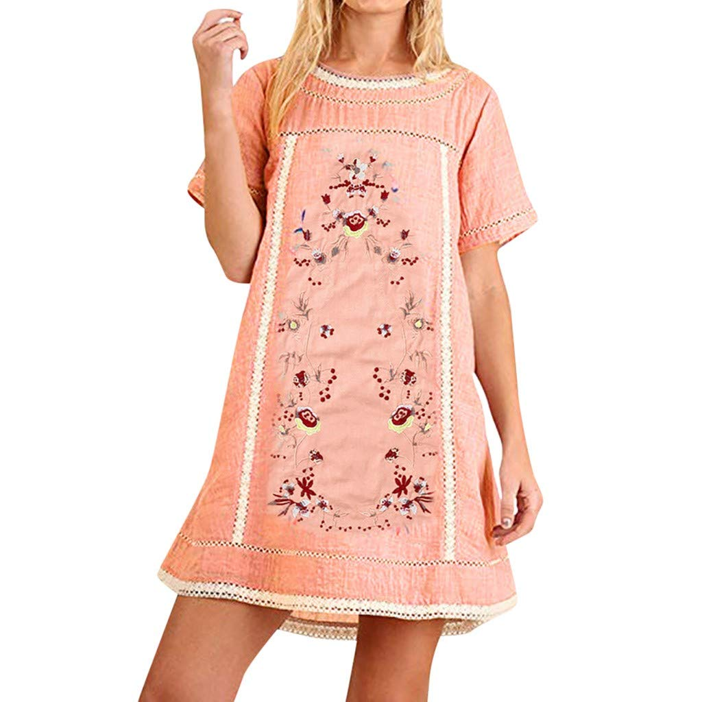 Winkey  Womens Bohemian Embroidered Dresses Summer Short Sleeve Dress or Tunic for Holiday Travel and Beach