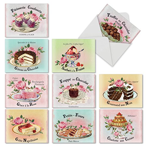 (French Treats' Note Cards with Envelopes 4 x 5.12 inch, 10 All Occasion Blank Greeting Cards Featuring Delicious French Desserts, Stationery for Weddings, Baby Showers, Parties M4213OCB-B1x10)