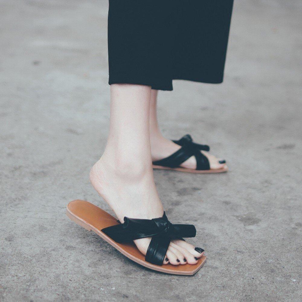 DHG der Sommer Flache Schuhe der DHG Sandelholze Beschuht Bogenfreizeit Faule Weiche Strandschuhe Tragenpantoffel Schwarz 37 75907a