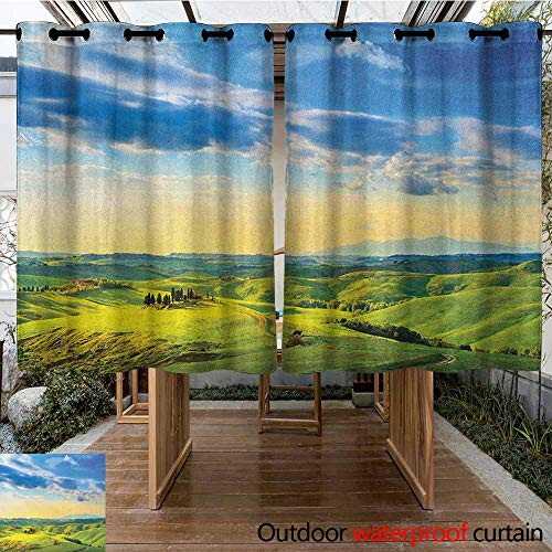Tuscany Pergola Set - AndyTours Pergola Curtain,Tuscany,Sunset in Tuscany Rural Farmand Cypresses Trees Sunlight Volterra Italy,Room Darkening, Noise Reducing,K140C100 Sky Blue Pale Green