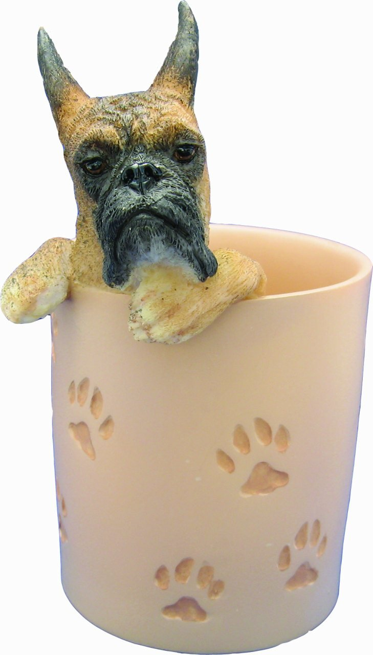 Brindle Boxer Pencil Cup Holder with Realistic Hand Painted Boxer Face and Paws Hanging Over Cup, Uniquely Designed Boxer Gifts, A Convenient Organizer for Home or Office, One Of A Kind Pen Holder