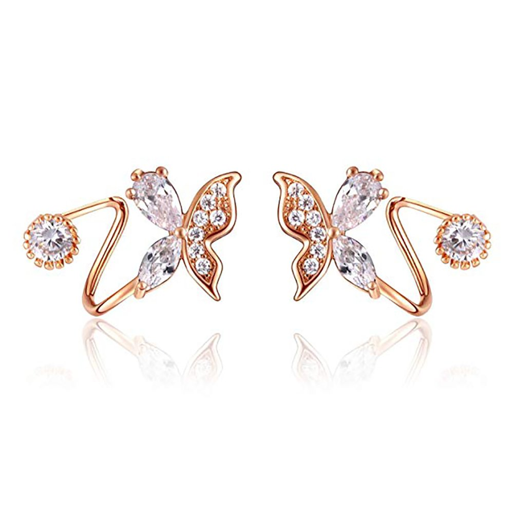 Amaer Hypo Allergenic Rose Gold Plated Butterfly Wrap Earrings for Women Elegant Clip Earrings Studs