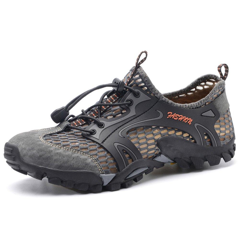 Ailishabroy Sommer Outdoor Trekking Schuh Breathable Leder und Mesh Wanderschuhe Herren