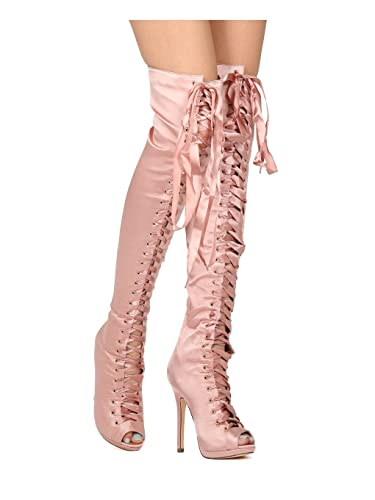 6e2c5deb8b3 Alrisco Women Satin Thigh High Peep Toe Lace Up Stiletto Boot HE06 -  Champagne Satin (