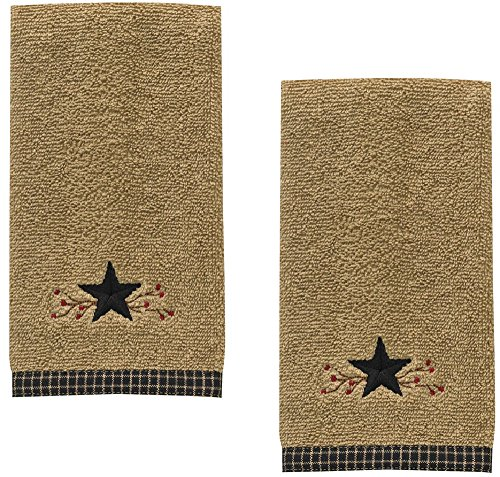 Set of 2 Park Designs Star Vine Terry Embroidered Cotton Fingertip Towel