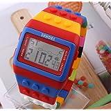 Unisex digital retroiluminación muñeca reloj con colorido Band Cronómetro & Alarma & fecha & Rojo