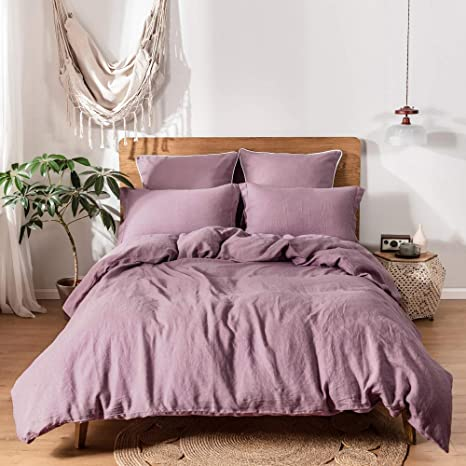 Stone Washed Linen Bedding,King,Queen Sheet in Purple Linen Fitted Bed Sheet