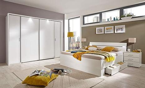 Lifestyle4living Schlafzimmer Komplett Set In Weiss 4 Teilig Modernes Komplettset Mit Dreh Schwebeturenschrank Bett Und Nachtschranken Amazon De Kuche Haushalt