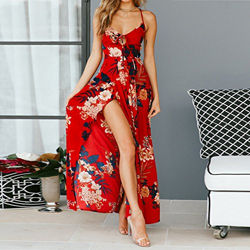 Sleeveless Clearance Dresses Split Red Long Bandage Party Women Chanyuhui Floral Dress Evening Lady Backless Maxi xagc8