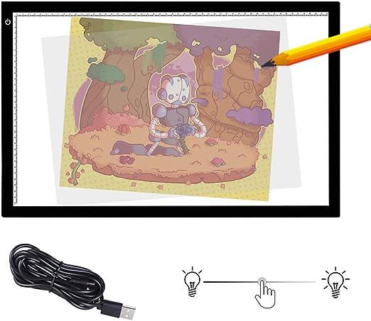 SHENGY Mesa de luz LED, Bandeja de Dibujo A2, Caja de luz de Control de Brillo Continuo, Tablero de luz, Utilizado en Manualidades Animación Tatuaje Acolchar Cómic Maestro Trazador: Amazon.es: Hogar