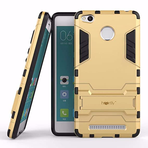 best website 1c282 bef49 Heartly Graphic Kickstand Hard Dual Rugged Armor Hybrid Bumper Back Case  Cover for Xiaomi Redmi 3S Prime/3S - Mobile Gold