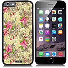 New Apple iPhone 6 s 4.7-inch CocoZ® Case Beautiful Rose pattern PC Material Case (Black PC & Rose Flowers 34)