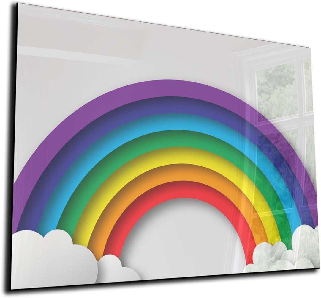 Mehrfarbig Magnetwand Memoboard 70x50 cm Wandtafel f/ür K/üche /& Wohnzimmer DEKOGLAS Glas Magnettafel Regenbogen Pinnwand magnetisch