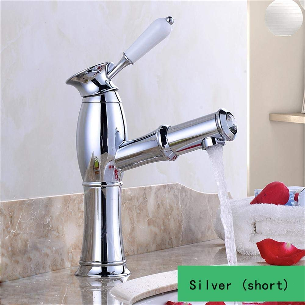 Silver (short) ZTMN UK - All Copper Basin Taps Hot Hot Sweater Antique Elevating Aerial Pond Elevation Faucet (color  Silver (Short))