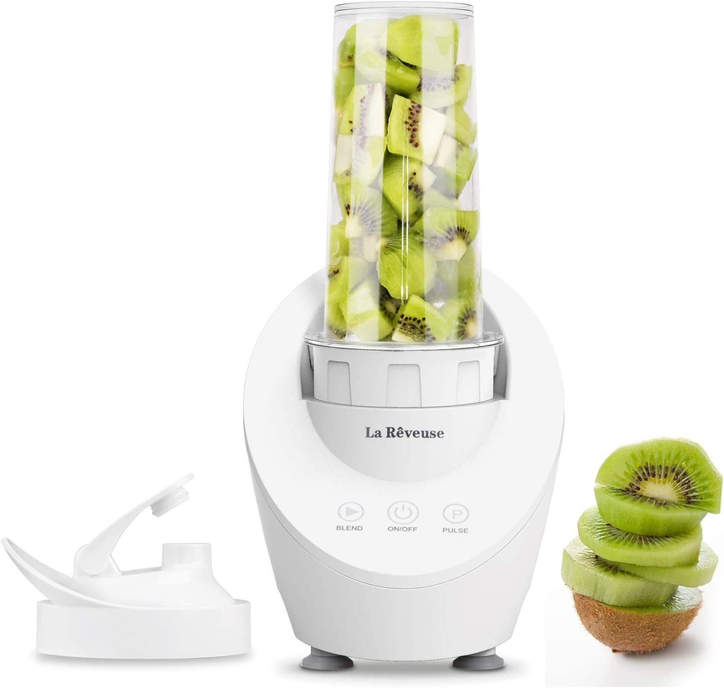 La Reveuse Personal Blender for Shakes and Smoothies 200 Watt with Magnetic Drive Technology 10 oz BPA Free Portable Travel Bottle,White