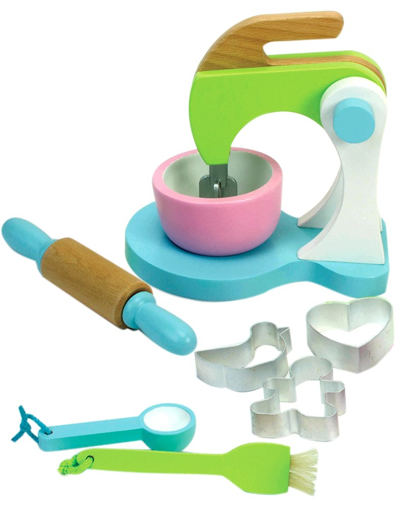 Childrens Wooden Play & Pretend Food Set, Cookie Baking Set with Cookies, Tray, Bowl, Mixer & More! Wood Play Food Cookie Baking Set by Sophia's (Image #3)