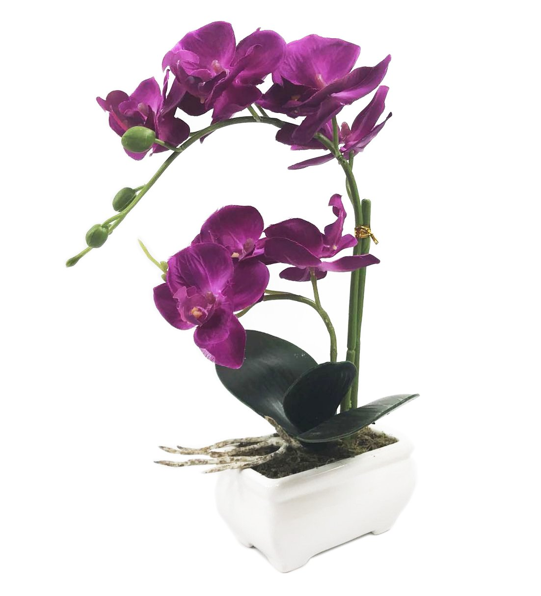 """PEPPERLONELY Brand 13"""" H Artificial Ceramic Potted Plant Orchid, Purple"""
