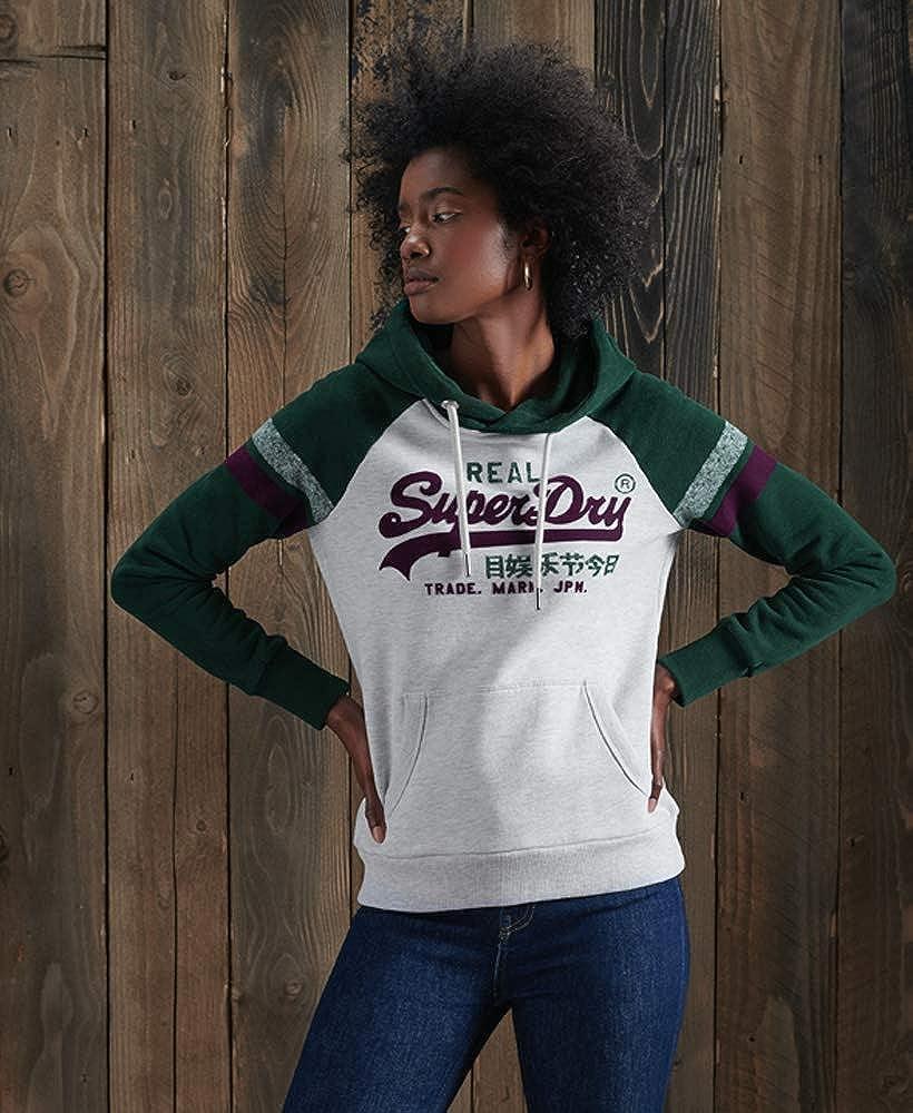 Superdry Damen Vintage Logo Varsity Hoodie mit Raglanärmeln Pinie