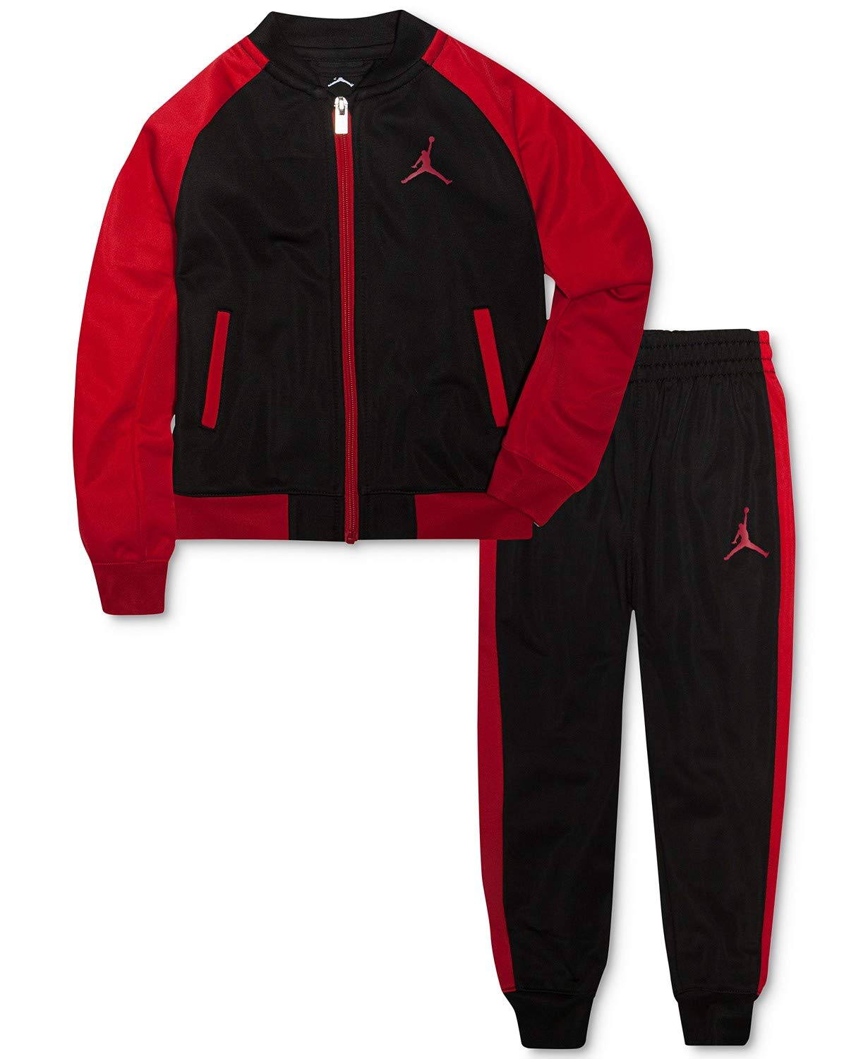 NIKE Air Jordan Boys Tricot Tracksuit Jacket & Pants Set, Black/Red (5) by Jordan