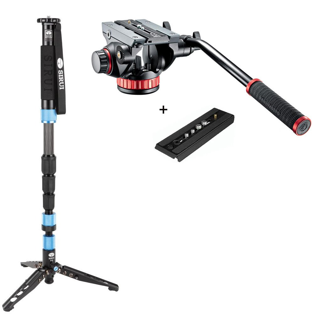 Sirui P-224SR 63'' 4-Section Carbon Fiber Monopod w/Manfrotto MVH502AH Pro Tripod Head with Flat Base, Fluid Pan, Drag System and Ivation QR Plate