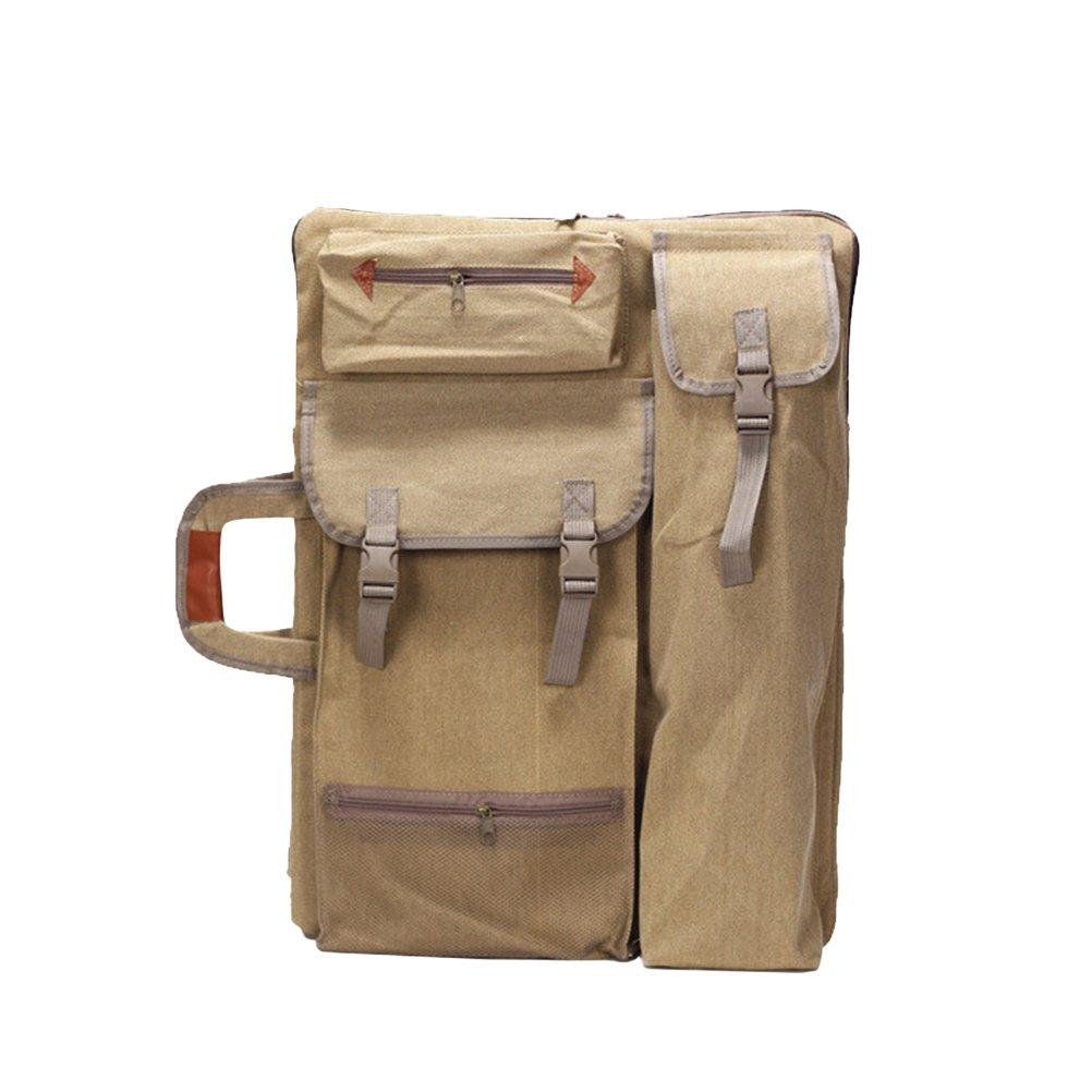 Healifty Art Portfolio Bag Case Backpack Drawing Board Shoulder Bag with Zipper Shoulder Straps for Artist Painter Students Artwork (Khaki)