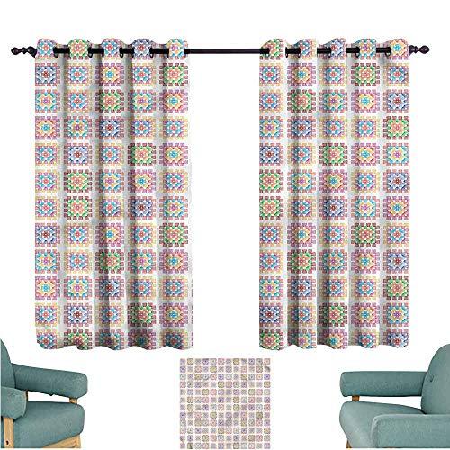 Window Curtain Panel Afghan Doodle Stripe Design Room Darkening, Noise Reducing W72x63L