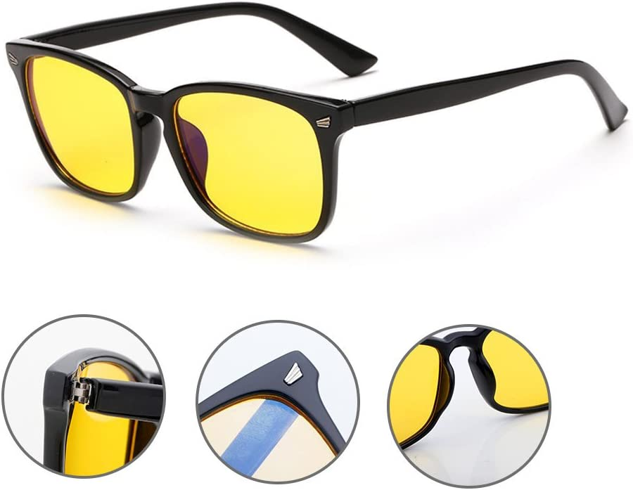 Rnow Yellow Tinted Computer Sunglasses Eye Strain Perfect for Gaming Anti Glare Glasses