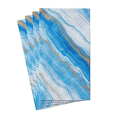 .com | Caspari Marble Paper Guest Towel Napkins in Blue, Four Packs of 15: Cocktail Napkins