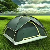 Flexzion Instant Dome Tent - 2-3 Person Automatic Double Layer Waterproof for Outdoor Sports Family Camping Hiking Travel Beach with Zippered Door and Carrying Bag in Army Green