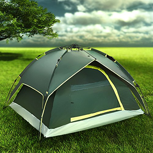 Flexzion Instant Dome Tent – 2-3 Person Automatic Double Layer Waterproof for Outdoor Sports Family Camping Hiking Travel Beach with Zippered Door and Carrying Bag in Army Green