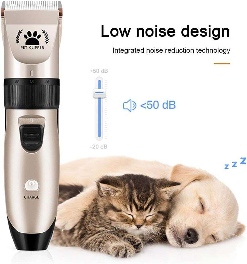 Hasde Dog Shaver Clippers Low Noise USB Rechargeable Cordless Electric Quiet Hair Clippers Set for Dogs Cats Pets with Battery