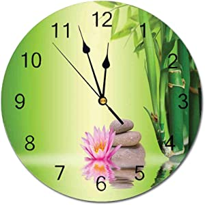 Yeeboo Spa Decor 10 Inch Round Wall Clock,Zen Garden Asian Self Control Freshening Insight in Daily Life Mindful Activity Relax Print Easy Read Clock for Home Office Classroom,Green Pink