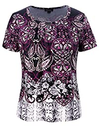 Chicwe Women's Plus Size Mixed Animal Floral Print Top with Designed Neck 1X-4X