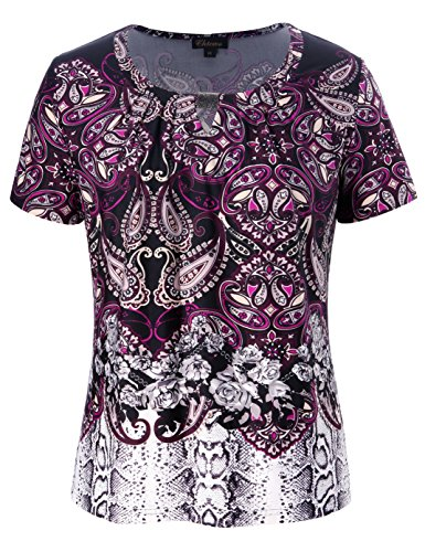 Chicwe Women's Plus Size Mixed Animal Floral Print Top With Designed Neck Plum (Floral Plum)