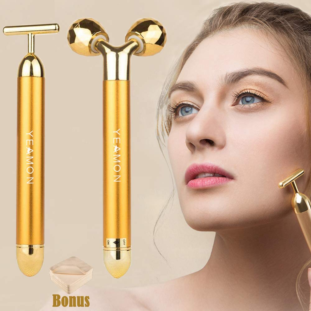 2-IN-1 Beauty Bar 24k Golden Pulse Facial Face Massager,Electric 3D Roller and T Shape Arm Eye Nose Head Massager Instant Face Lift,Anti-Wrinkles,Skin Tightening,Face Firming by Yeamon