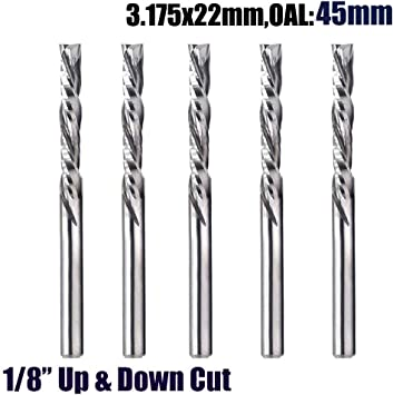 """5pcs 1//8/"""" Shank Cutting CNC 4-Flute Spiral Bit End Mill Cutter 22mm"""