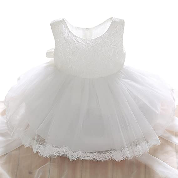 c70865cbb81d SZYL Baby Girls Lace Baptism Flower Dress Wedding Pegeant Tutu (3-6 ...