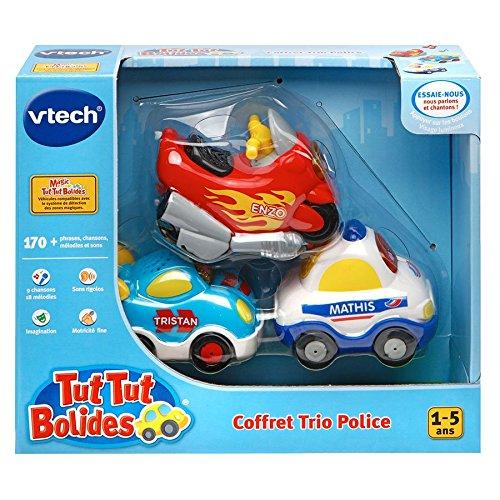 VTech A1303731 - Jouet De Premier Âge - Coffret Trio Police - Véhicules Tut Tut Bolide - Couleurs aléatoires