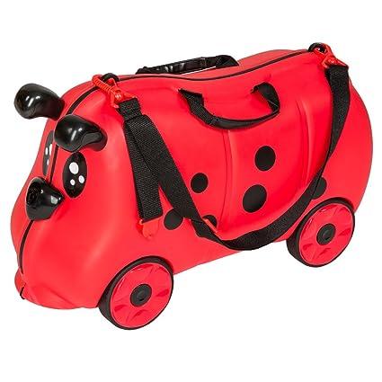 TecTake Maleta de viaje con ruedas para niños coche infantil caja de juguettes rojo
