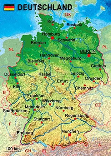 Price comparison product image 3D Lenticular Postcard - Map of DEUTSCHLAND - 4x6 Greeting Card