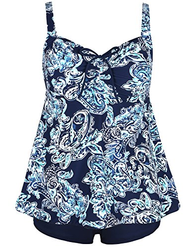 Hilor Women's Drawstring Ruched Halter Floral Tankini Set Two Piece Swimsuit Navy Green Paisley 22 (Plus Size Suits)