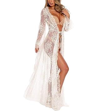 2f16d2f6755 Women Dress,Freesa Sexy Womens Long Sleeve V-Neck Lace Mermaid Cover Up  Beach