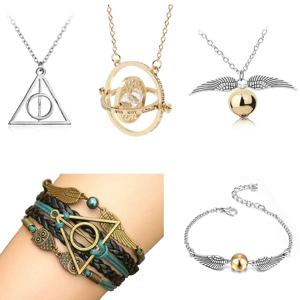 Necklace Merchandise for HP Fans, Necklace Bracelet Jewelry Set Best Gift for Boys, Daughter, Girls, Women by OPENDGO