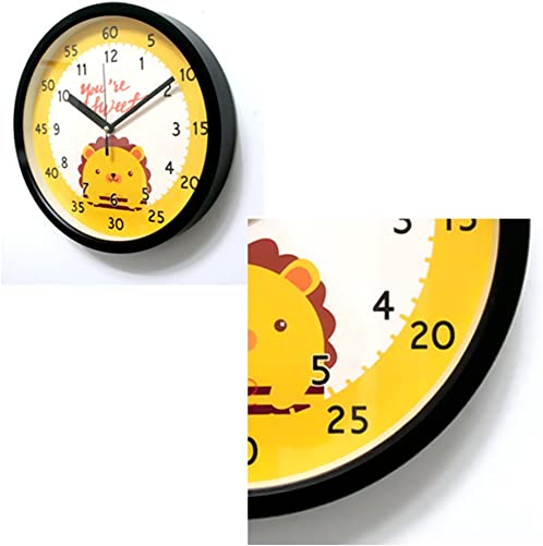 Bronzehouse Easy Read Time Teacher Children s Wall Clock Silent Non-Ticking Quartz Movement Learn to Tell The time Kids Clocks Lion