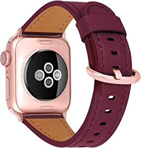 HUAFIY Compatible iWatch Band 38mm 40mm, Top Grain Leather Band Replacement Strap iWatch Series 6/ 5/ 4/ 3/2/1,SE,Sport, Edition (wine red+rose gold, 38mm40mm)
